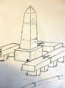 So hat die Postsäule ausgesehen. Die Zeichnung wurde 2021 von Bernd Böhme aus der Erinnerung angefertigt.