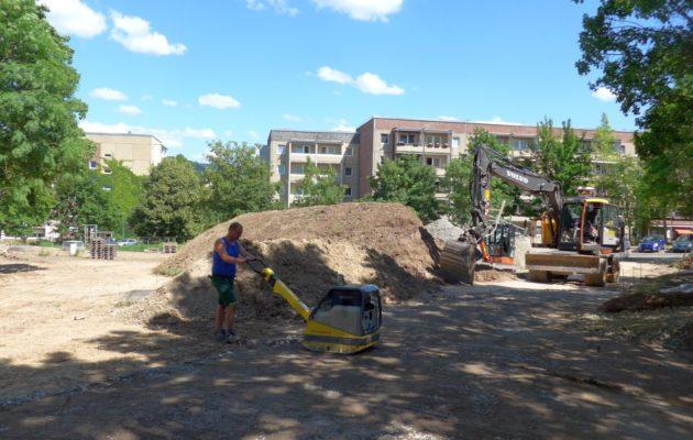 Bauarbeiten auf der Zuckerwiese in Winzerla